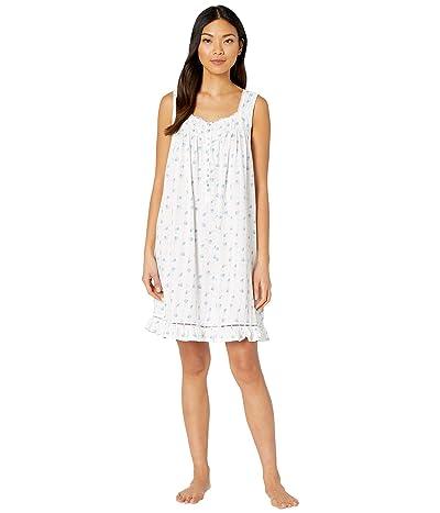 Eileen West Cotton Modal Texture Knit Jersey Sleeveless Short Chemise (White Ground/Floral Stripe) Women