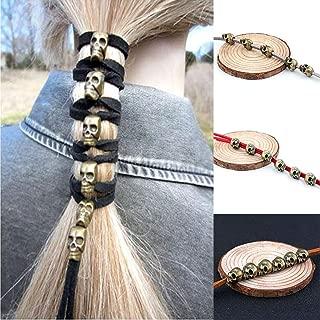 LLJEkieee Halloween Skull Hair Cord DIY Accessories velvet rope Ponytail Gothic Punk Antique Copper Headgear (Black)