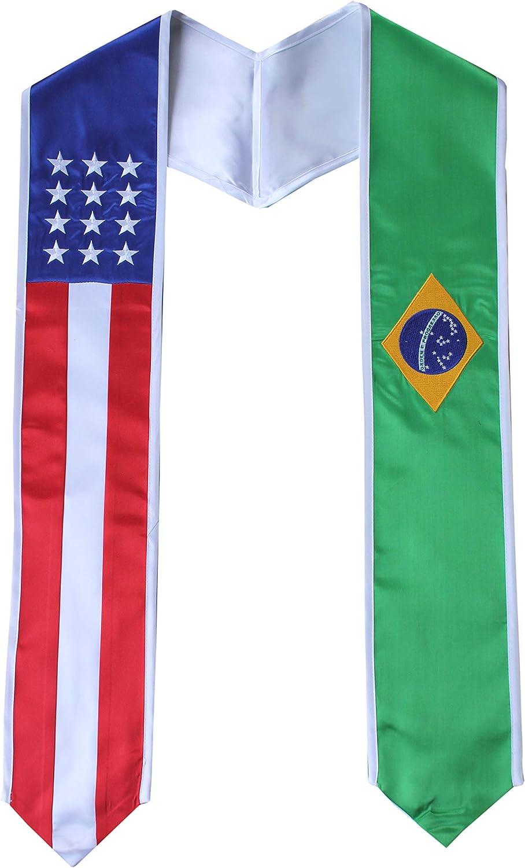 Brazil Time sale Elegant and USA Combo Flag Graduation Pride Stole Country Sash