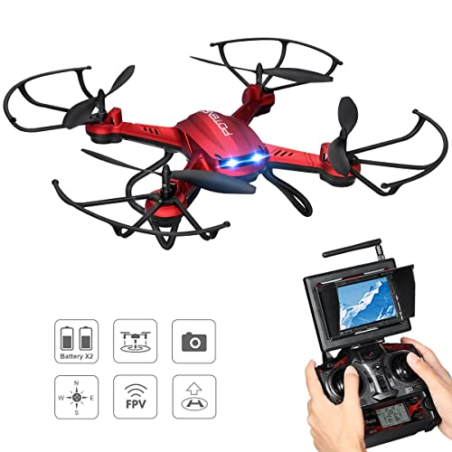 Potensic Drone with Camera, F181DH RC Quadcopter RTF Altitude Hold UFO with Newest Hover, Stepless-speed Function, 2MP HD Camera, 5.8Ghz FPV LCD Screen Monitor& 3D Flips Function - Red