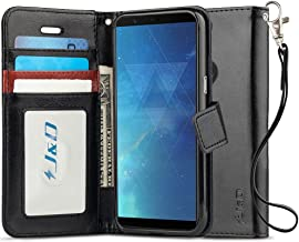 J&D Case Compatible for OnePlus 5T Case, [Wallet Stand] [Slim Fit] Heavy Duty Protective Shock Resistant Flip Cover Wallet Case for OnePlus 5T Wallet Case - Black