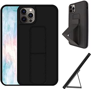 Case for iPhone 12/12 Pro with Back Magnetic Grip, Strap, Stand, Black Protective Cover for Car Mobile Holder