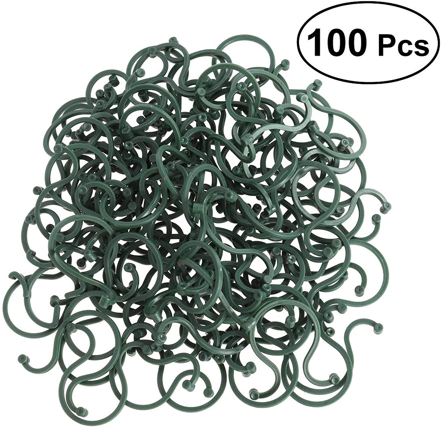 Shoppy Star New 100 Pcs Garden Plant Support Twist Clip for Vine Vegetables (Green)
