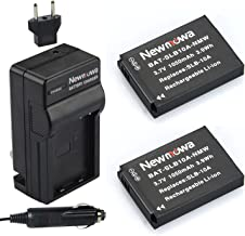 Newmowa SLB-10A Replacement Battery (2-Pack) and Charger kit for Samsung SLB-10A, JVC BN-VH105 and Samsung ES50, ES55, ES60, EX2F, HMX-U10, HMX-U20, HZ10W, HZ15W, IT100, L100, L110, L200, L210, L310W