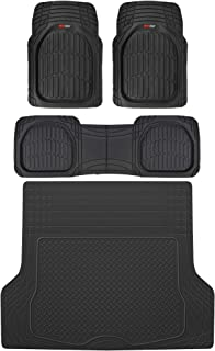 Motor Trend MT-923 FlexTough Deep Dish Contours Rubber Car Floor Mats, Universal Front & Rear Combo Set with Trunk Cargo M...