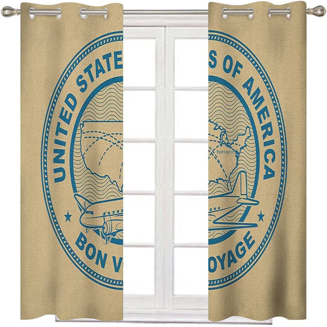 Travel Extra Wide Branded goods Curtain Panels 63 Inches Gr Albuquerque Mall Blue Tan and Long