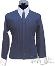 Mens 1930's 1940's1950's Spear Point Collar Navy Blue Stripes Bankers Shirt Vintage Classic 100% Cotton 100-41