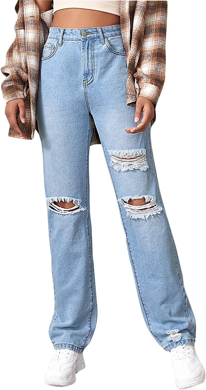 Spring new work SweatyRocks Women's Ripped Straight Max 54% OFF Leg Waist Distres Jeans High