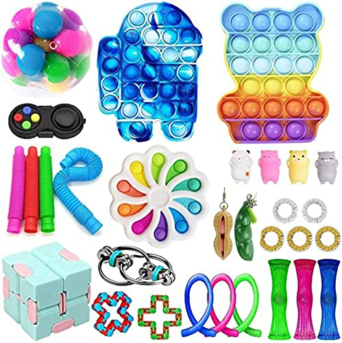 30pcs Sensory Toys Pack Squeezing Anti-Stress Toys Decompression Toys for Adults Party Favors, Autism Special Needs Fidget Toys Anxiety Relief Bubble Sensory Toy Sensory