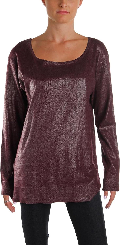 LAUREN RALPH LAUREN Womens Metallic Print Boatneck Pullover Sweater Red L