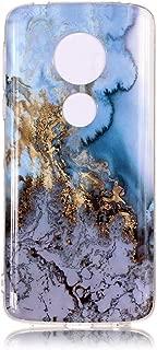 DECVO Moto E5 Plus Case, Shiny Marble Design, Slim-Fit Ultra-Thin Anti-Scratch Shock Proof Dust Proof Anti-Finger Print Clear Bumper Matte TPU Soft Rubber Silicone TPU Case for Moto E5 Plus (Blue)