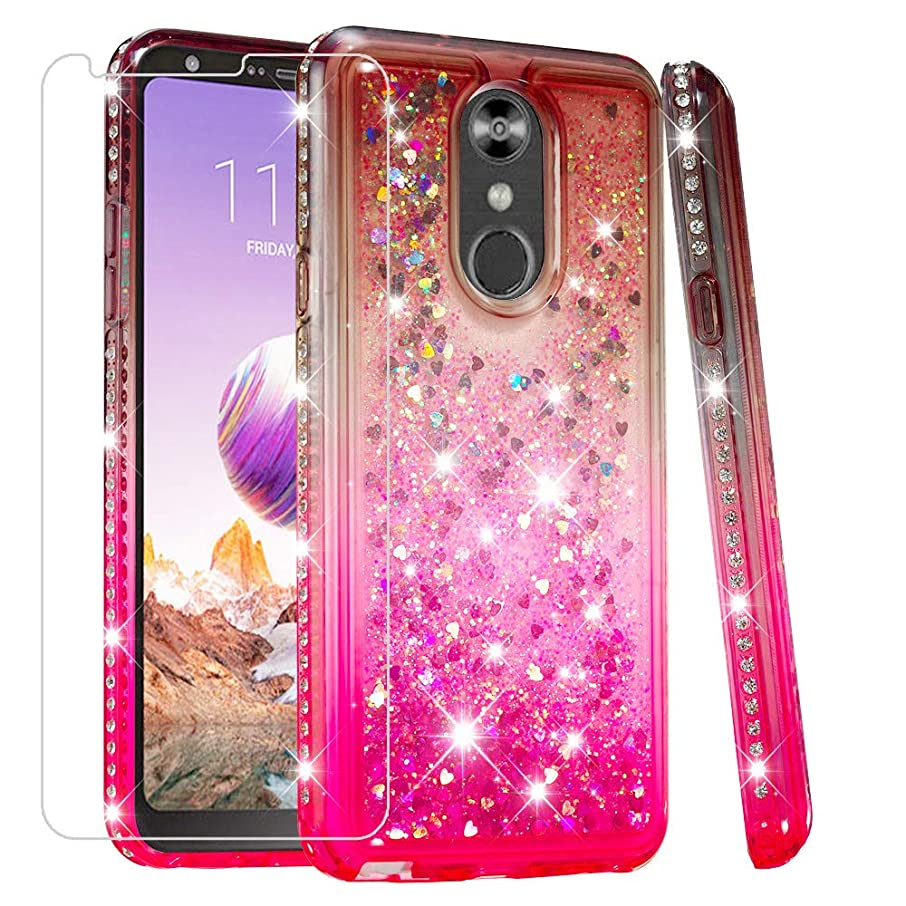 LG Stylo 4 Case LG Q Stylus Case LG Stylus 4 Case with Screen Protector Glitter Liquid Quicksand Flowing Bling Diamond Clear TPU Cute Girls Women Phone Cover Case for LG Stylo 4 (Gray/Pink)