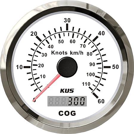 Kus Gps Tacho Kilometerzähler 60knots 110km H Für Boot Yachten 85mm Mit Hintergrundbeleuchtung Weiß Auto