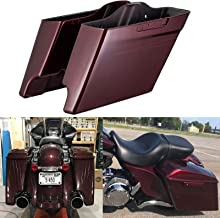 Us Stock Mysterious Red Sunglo 4 1/2 inch Extended Saddlebags Burgundy Pinstripe Stretched Saddlebags Fit for 2014-2019 Harley Touring Road Street Glide Special Electra Glide