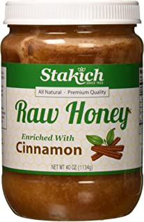 Stakich CINNAMON Enriched RAW HONEY - 100% Pure, Unprocessed, Unheated - 40 oz