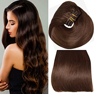 Aison 10 pcs 130g 16 inch hair extensions clip in human hair Dark Brown Thicken Double Weft Remy Human Hair Super Real 9A grade Quality Silky Straight For Full Head