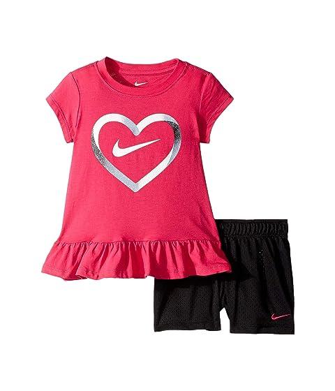 2e5a3bd502 Nike Kids Heart Short Sleeve Tee and Mesh Shorts Set (Little Kids ...
