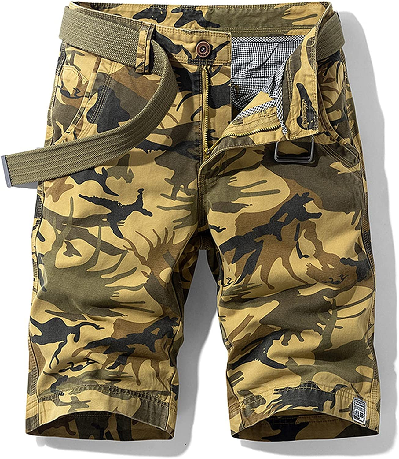 Lanng Mens Military Cargo Shorts New Army Camouflage Tactical Men Cotton Loose Work Casual Short Pants Trousers