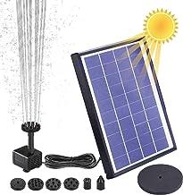 AISITIN Solar Fuente Bomba, 6.5W Fuente de Jardín Solar, Batería Incorporada, Caudal 500 L/H, con 6 Boquillas y Tabla Flotante para Pequeño Estanque, Baño de Aves, Fish Tank y Decoración del Jardín