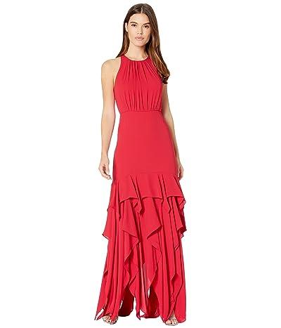 Halston Sleeveless Ruffle Skirt Silky Georgette Gown (Carmine) Women