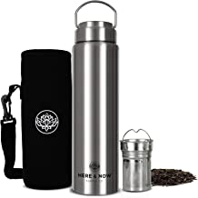 All-Purpose Travel Mug and Tumbler | Tea Infuser Water Bottle | Fruit Infused Flask | Hot & Cold Double Wall Stainless Steel Coffee Thermos | by Here & Now Supply Co. (750 ml (25.3 oz))