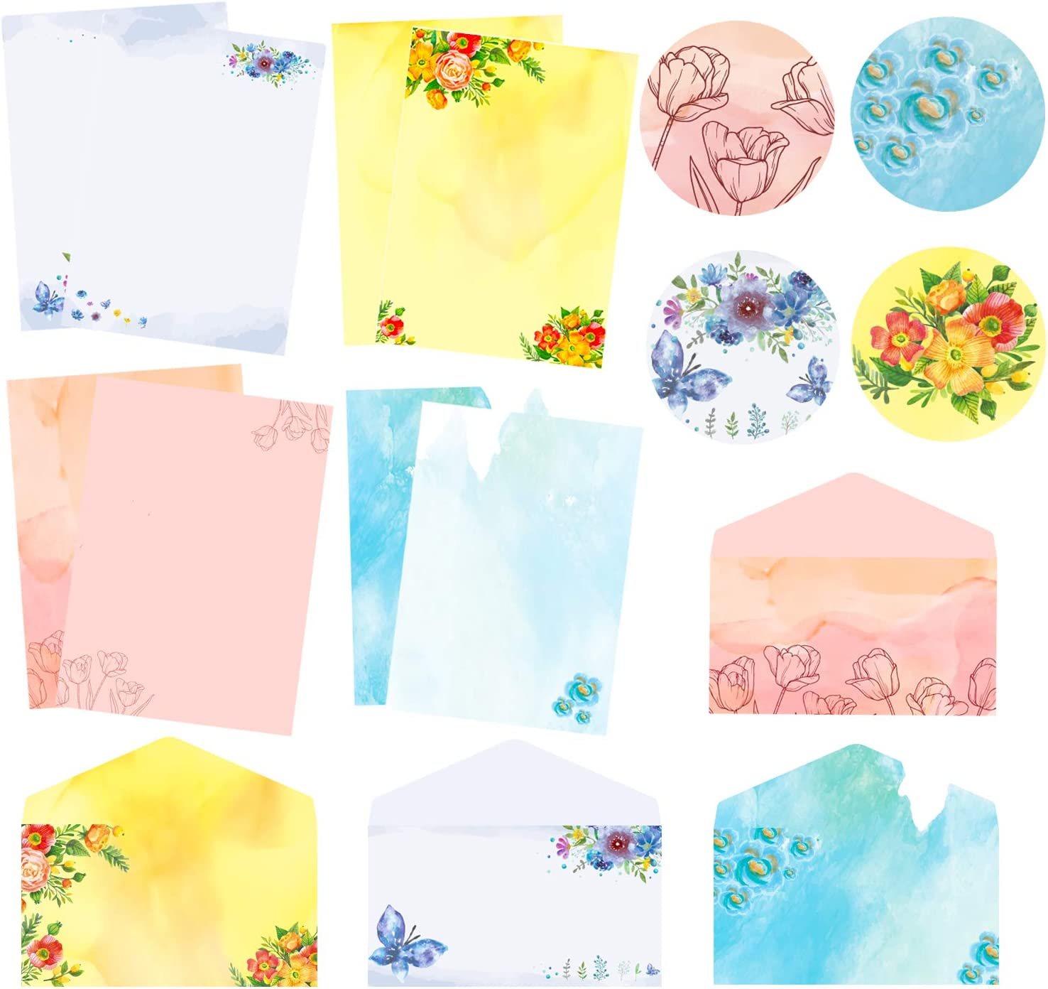 Stationary Writing Paper with security Watercolor Writi Max 46% OFF Envelopes Letter