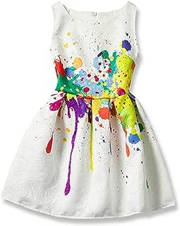Summer Girls Dresses Creative Art Colorful Print Sleeveless Casual Dress for Girls Size 5-12
