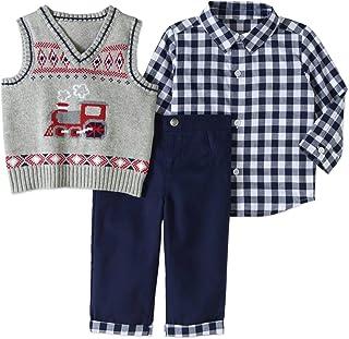 George Baby BOY 3PC Dressy Vest Set,Size 0-3 Months(Navy/Grey/RED/Bow/Train)