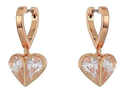 Kate Spade New York Rock Solid Stone Heart Huggies Earrings (Clear/Rose Gold) Earring