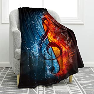 "Jekeno Music Note Blanket Print Soft Warm Throw Blanket Black for Couch Sofa Bed 50""x60"""