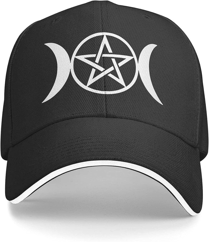Triple Moon Goddess Wicca Pentacle Sun Hat Dad Hat Baseball Cap Cotton Adjustable Fitted for Women Men Black