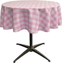 LA Linen Poly Checkered Round Tablecloth, 58-Inch, Pink/White