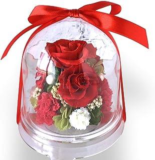 フローリストレマン プリザーブドフラワー 花 ドーム 赤 バラ ギフト クリスマスプレゼント 誕生日 母の日 還暦祝い チャーム(レッド)