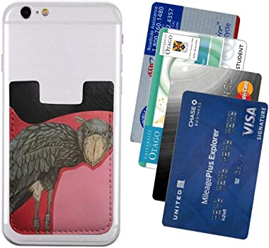Shoebill Stork Art Glamour Red PU Leather Business Id Card Package RFID Credit Card Holder Clip Sleeve Wallet for Vehicle Car