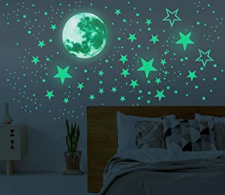 Glow in The Dark Moon and Stars Wall Stickers, 437PCS Adhesive Room Decor, Ceiling Art Stickers for Starry Sky at Night, R...