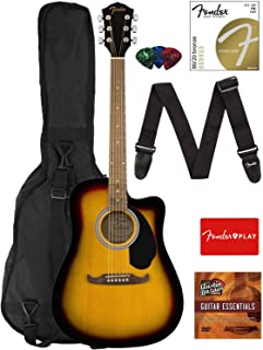 Best Fender FA-125CE Dreadnought Cutaway Acoustic-Electric Guitar - Sunburst Bundle with Gig Bag, Strap, Strings, Picks, Fender Play Online Lessons, and Austin Bazaar Instructional DVD Review