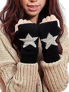 Ushiny - Guanti invernali da donna in maglia da polso senza dita, guanti da polso per l'inverno