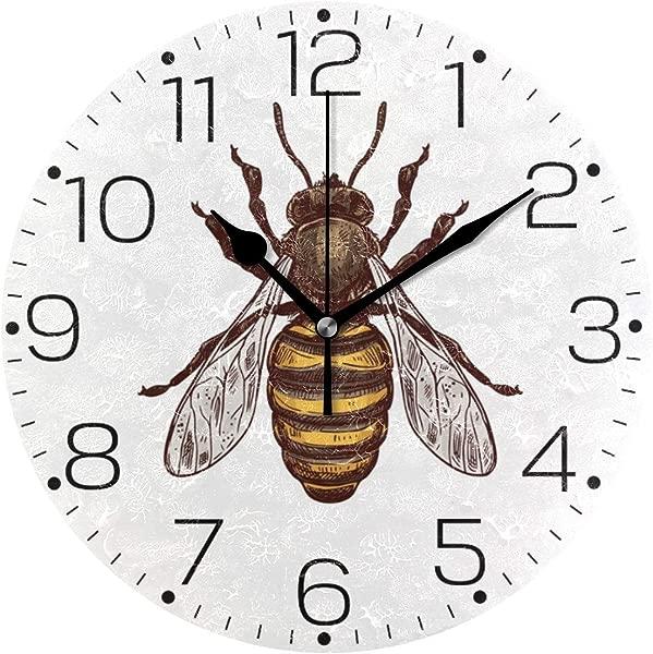 ZZAEO 手绘蜜蜂动物印花圆形亚克力艺术挂钟无框画静音座钟对于厨房卧室客厅教室家居装饰