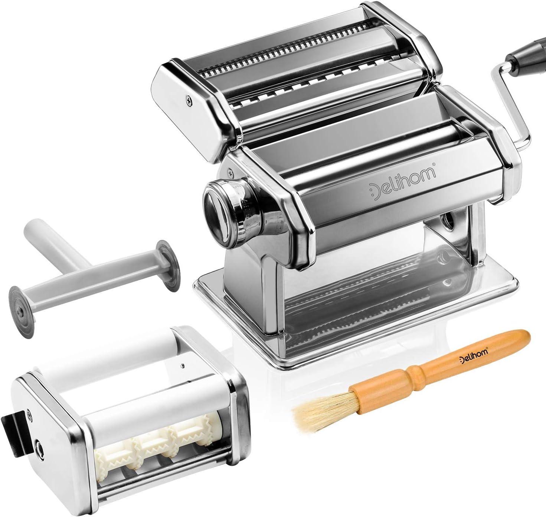 Delihom Máquina para Hacer Pasta Fresca Manual, Máquinas para Pasta de Acero Inoxidable Manuales con Accesorio para Raviolis, 9 Ajustes de Grosor
