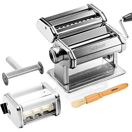 Delihom Pasta Maker - Stainless Steel Pasta Machine, Cutter, Ravioli Attachment and 4 Piece Pasta Roller Accessories for Homemade Spaghetti and Ravioli