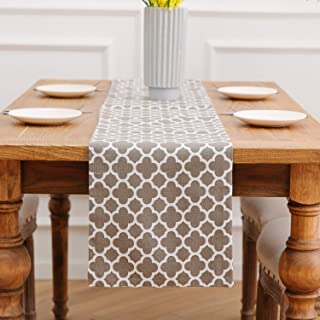 NATUS WEAVER 2 Side Cotton, Classic Table Runner for Dinner Parties, Events, Decor 12 x 90 - Geometric Lattice Chain Print...