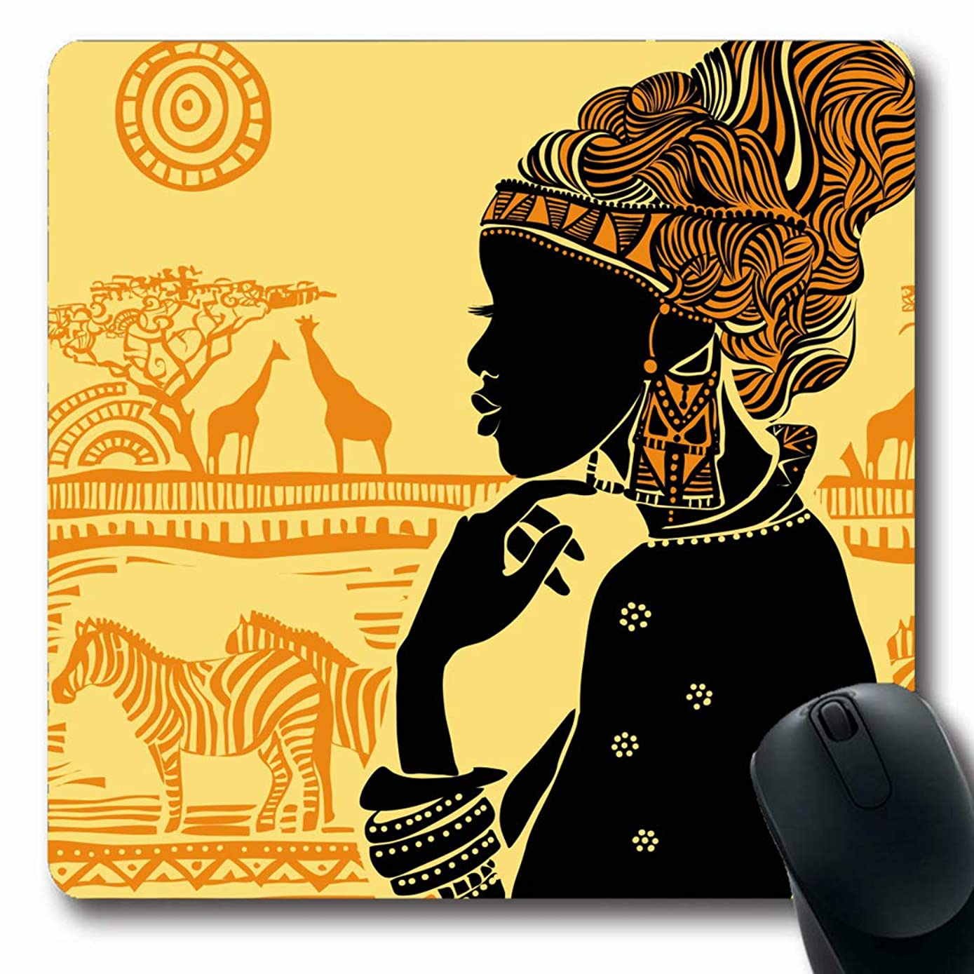Ahawoso Mousepads for Computers Africa America African Against Earrings Tribe South Zebra American Design Cult Oblong Shape 7.9 x 9.5 Inches Non-Slip Oblong Gaming Mouse Pad