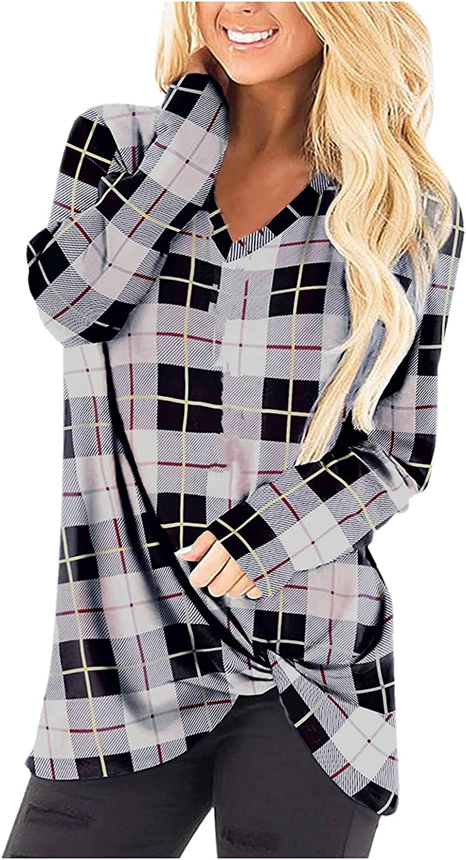 Women Tops Plaid Print Long Sleeve Crewneck Twist Knot Tunic T-Shirt Blouse Casual Loose Comfy Shirt