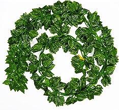 12 stks 2m kunstmatige groene klimop bladeren begonia garland planten wijnstokken nep plastic rotan string muur decor plan...