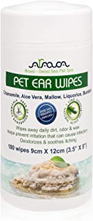 Arava Dead Sea Pet Spa - Pet Ear Wipes - Chamomile - Aloe Vera - Mallow - Scrub Away Daily Dirt Odor and Wax - Prevents Ir...