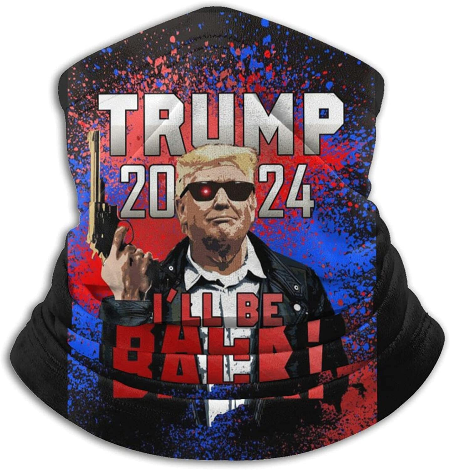 Trump i'll be back 2024 unisex winter neck gaiter face cover mask, windproof balaclava scarf for fishing, running & hiking
