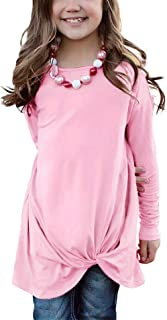 Girls Casual Tunic Tops Knot Front Long Sleeve Loose Soft...