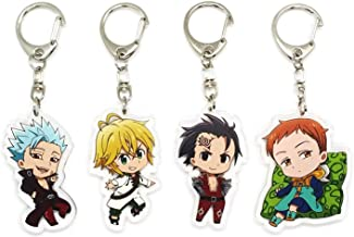 Set of 4 The Seven Deadly Sins (Nanatsu no Taizai) Anime Acrylic Keychain Ban, Meliodas, King, Zeldris