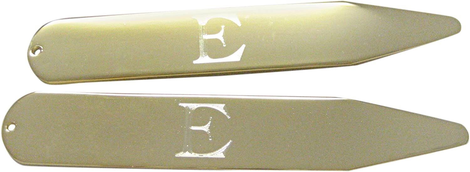 Gold Toned Etched Letter E Monogram Collar Stays