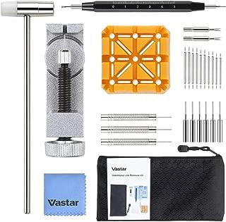 Vastar Kit de Reparación de Relojes - Herramienta de Extracción de Relojes con Correa de Reloj Removedor de Eslabones/Soporte de Correa de Reloj/Martillo Cabeza/Pasadores de Reloj,etc.